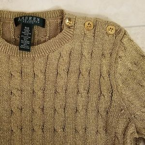 Ralph Lauren Metallic Gold Cable Sweater, Size PXS